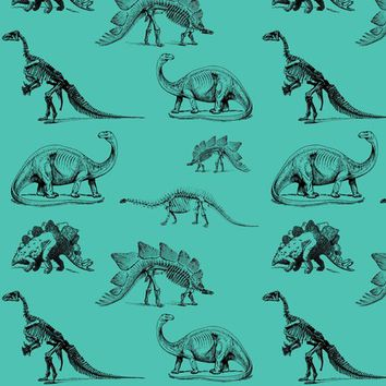 Museum Animals | Dinosaur Skeletons on Teal Green fabric - bohobear - Spoonflower