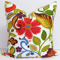 Pillow.Floral.18x18 inch.Decorator Pillow Cover.Housewares.Home Decor.Red.Orange.Green.Indoor.Outdoor