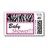 BabyShower Trendy Black White Pink Zebra Print Postage Stamps from Zazzle.com