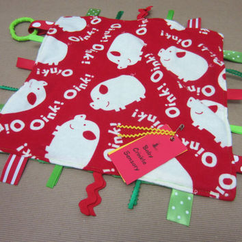 SPECIAL PRICE / Baby Tag Blanket / Sensory Toy / pigs oink / red white / farm animals / funny / bacon lover / ready to ship (189)
