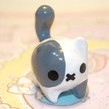 Kawaii chibi Tubby Kitty cat polymer clay minature figurine( TEMPORALLY ON SALE)