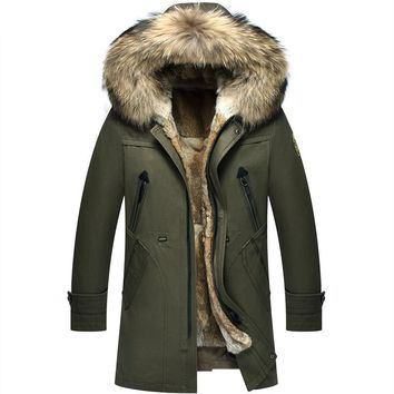 Long Thicken Big Natural Fur Collar Winter Jacket Men Can Withstand Degrees Rabbit Fur Lining Winters
