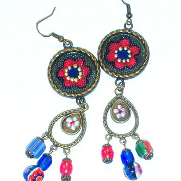 Funky Hippie Boho Chic Colorful Long Chandelier Hand Painted Floral Earrings