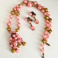Pink Moonglow Lucite Bead Necklace with Earrings Set, Vintage Jewelry ETSY SALE