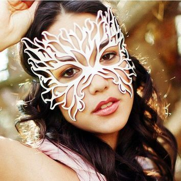 Filigree Flame leather mask in white by TomBanwell on Etsy