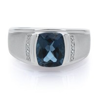 London Blue Topaz & 1/8 ct. tw. Diamond Men's Ring in Sterling Silver - 25 Year Gifts - Anniversary - Gift Guide - Helzberg Diamonds