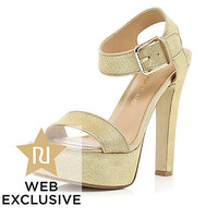 Gold chunky strap platform sandals - heels - shoes / boots - women
