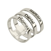 Sterling Silver Engraved Names Layered Ring