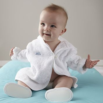 Kids Bath Robes: Personalized Blue Embroidered Robes in Gift Sets | The Land of Nod
