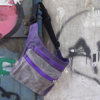 Hip Bag Waxed Canvas Waxed canvas Pouch Festival Bag Fanny Pack Travel Belt Canvas Waist Pack