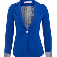 She and Her Blue One Button Cuff Blazer