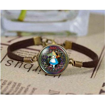 Man Inspired US Movie Alice in Wonderland bracelet brass silver bracelet steampunk Jewelry Gift women new bracelet mens Bangle