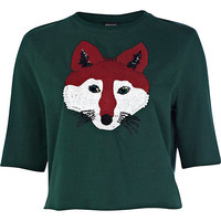 River Island Womens Green fox sequin embellished crop sweatshirt