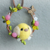 Handmade Easter / Spring bird ornament, needle felted Easter chick on wreath ornament, felt bird handbag charm, gift under 20