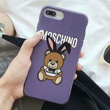 MOSCHINO Fashionable Women Cute Rabbit Teddy Bear Mobile Phone Cover Case For iphone 6 6s 6plus 6s-plus 7 7plus 8 8plus X XSMax XR Purple