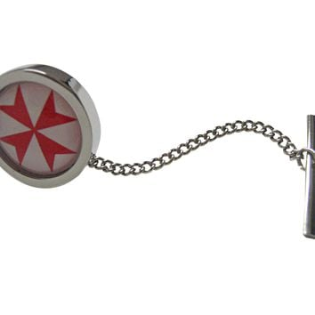 Bordered Red Maltese Cross Pendant Tie Tack