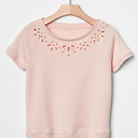 Floral Cut Out Sweatshirt Top
