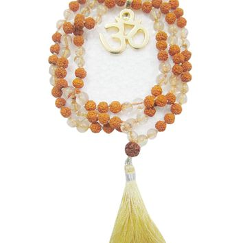 I am Light, Citrine Rudraksha Om Mala Beads Healing Yoga Japamala Necklace: Amazon.ca: Jewelry