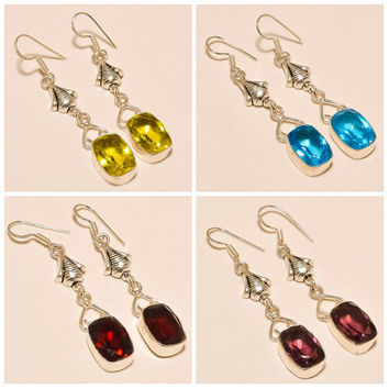 Earrings Designer Faceted Quartz Gemstone New Handmade Earrings