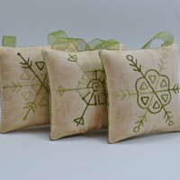Snowflake Christmas Tree Ornaments - Decorations - Door Knob Hangers - Winter - Primitive - Hand Stitched - Green - Geometric Shapes