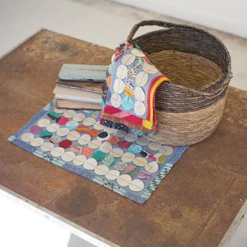 Set Of 6 Recycled Kantha Round Patch Placemats