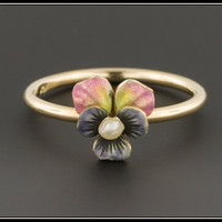 10k Gold Pansy Ring| Enamel & Pearl Pansy Flower Ring | Antique Pin Conversion Ring | Enamel Pansy Ring