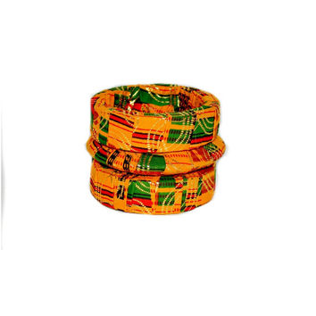 Valentine's Day Gift For Her, Kente Print Bracelet, African Fabric Wood Bangles, Brown  African Ankara print Bangles, Handmade Wood Bangles