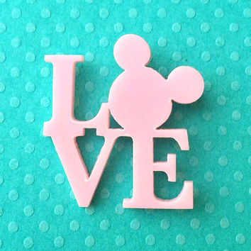"""Handmade """"All you Need Is Mouse Love"""" Light Pastel Pink Mickey Mouse Love Inspired Brooch"""
