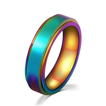 WaMLFac 6MM Unisex Stainless Steel Band LGBT Gay Lesbian Pride Rainbow Spinner Wedding Ring