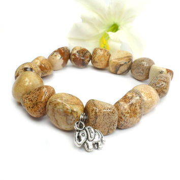 Picture Jasper Stretch Bracelet - Choose your charm!