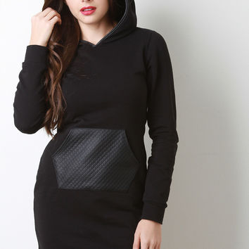 Quilted Leather Pocket Sweatshirt Dress