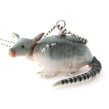 Armadillo Shaped Porcelain Ceramic Animal Pendant Necklace | Handmade
