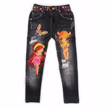 64CM Trendy Digital Cartoon Printing Pants Fashion Baby Boy & Girls Leggings For Kids 5-8 Age Children Cartoon Trousers Clothes