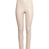 H&M - Imitation Leather Pants - Light beige - Ladies