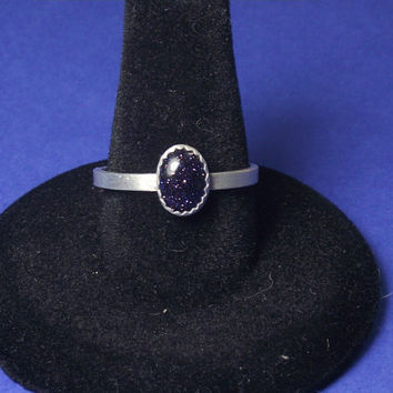 Stacking Ring. Blue Goldstone on Sterling Silver Band.