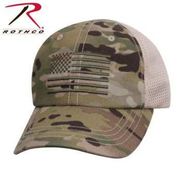 Multicam Tactical Mesh Back Cap With Embroidered US Flag