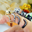 Womens Kitty Cat Ring Swarovski Crystals Adjustable Free Size Wrap Ring Kitten Gold Silver Chrome Silver Black