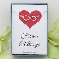 Infinity necklace, Forever and Always, Sterling Silver, engagement anniversary gift for wife, Valentines gift for girlfriend dainty necklace