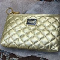 CHANEL New Fashion Makeup Cosmetic Bag Wallet  Women Gold