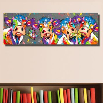 Mem Eden Colorful Four Cows Animals Graffiti Oil Painting Canvas Prints for Wall Art Picture for Bedroom Living room Home Decor