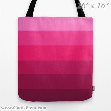 """Ombre """"Berry Berry"""" 13x13 Graphic Print Tote Bag Bright Pink Fuschia Raspberry Color Fade Gift Her Spring Summer Back School Grocery Reuse"""