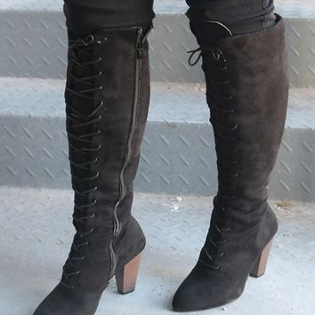 New Black Round Toe Chunky Fashion Knee-High Boots