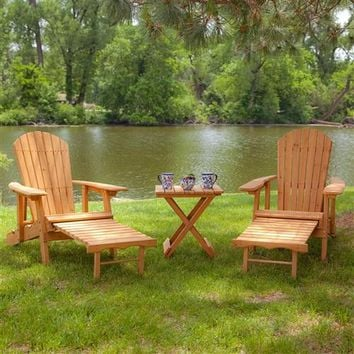 3-Piece Patio Furniture Set with 2 Adirondack Chairs and Side Table