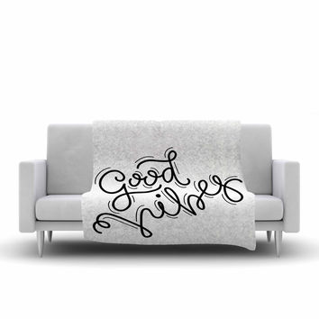 "Busy Bree ""Good Vibes"" Black White Fleece Throw Blanket"