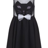 ROMWE | Cat Face Black Dress, The Latest Street Fashion