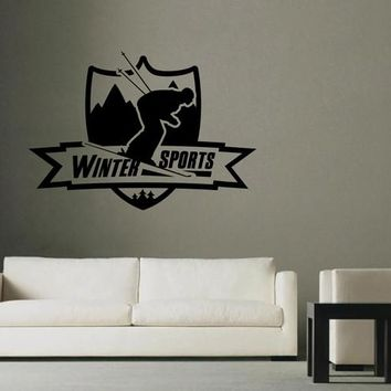 ik2586 Wall Decal Sticker skier skiing winter sports shop stained glass