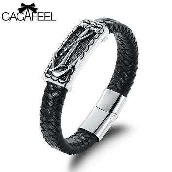 GAGAFEEL Genuine Leather Bracelet For Men Anchor Stainless Steel Bangle Punk Style Sports Casual