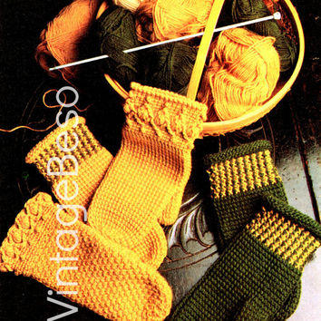 Mittens Crochet Pattern Vintage 1970s Tunisian Stitch Three Afghan Mittens Afghan Stitch Pattern Instant Download Printable PdF Pattern