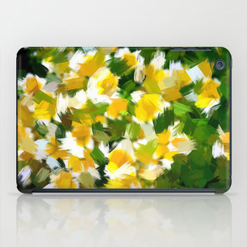 Art Print Tablet Cases, iPad Mini and iPad (2nd, 3rd, and 4th Gen), Abstract Yellow and White Floral Art Print Tablet Cover.