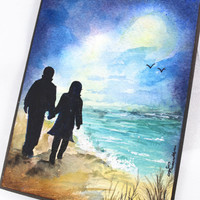 OOAK, Original Handpainted Valentine Card, Anniversary Card, Card for Boyfriend, Card for Couple, On the beach, Romantic Card, Together Card